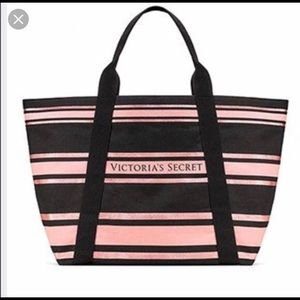 NWT Victoria Secret Pink & Black Striped Tote Bag